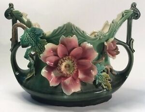 Antique French Applied Palissy Barbotine Jardinaire c.1880s