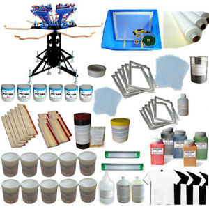 6 Color 6 Station Screen Printing Kit Micro adjust Press With Ink Screen scrape