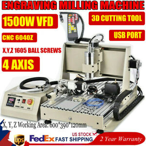 4axis Cnc 6040t Usb Router Engraver Wood Drill Milling Machine 1500w Vfd rc Usa