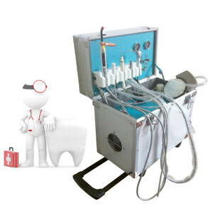 4hole Portable Dental Delivery Treatment Cart Unit Equipment Mobile Rolling Case