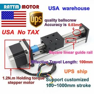 us Cnc Ball Screw Linear Slide Stroke 1605 100mm Z Axis Nema23 Stepper Motor