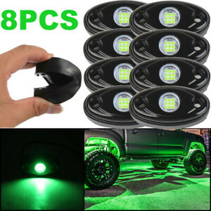 Green Led Rock Lamp 8 Pods Light For Off Road Truck Car Atv Suv Under Wheel 4x4