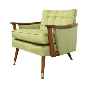Mid Century Danish Modern Vintage Velvet Walnut Accent Lounge Chair