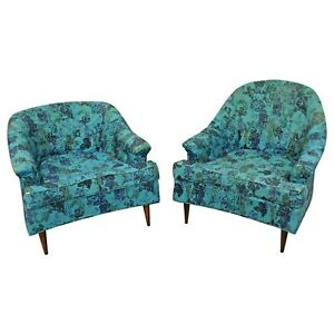 Pair Of Mid Century Modern Pearsall Style Prestige His Her Lounge Chairs