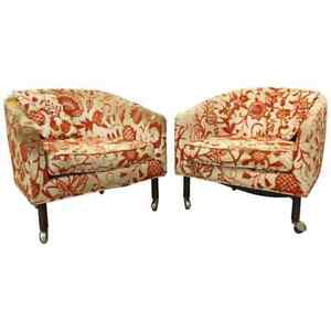 Pair Of Mid Century Danish Modern Harvey Probber Barrel Back Lounge Chairs