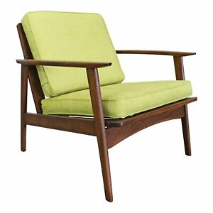 Mid Century Danish Modern Citron Walnut Lounge Arm Chair
