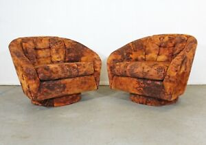 Pair Of Mid Century Danish Modern Crushed Velvet Swivel Lounge Chairs