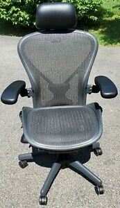 2015 Herman Miller Aeron Office Chair Size B Posturefit Headrest Fully Loaded