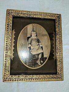 Antique Fits 10 X 8 Gold Gilt Picture Frame Wood Gesso W Photo Florence Pullen