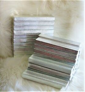 Lot Of 26 Paper Silver Gift Boxes Cotton Filled 8 1 8 X 1 7 8 X 7 8