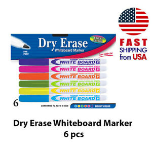 6pack Dry Erase White Board Markers Fine Point Tip 6 Colors New Free Shipping