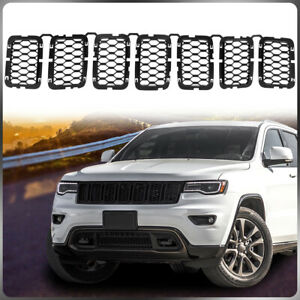 7pcs Matte Black Front Grille Inserts Trim Kit For 2017 2020 Jeep Grand Cherokee