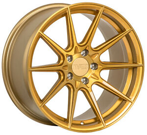 4 new 18 F1r F101 Wheels 18x8 5 18x9 5 5x100 38 38 Brushed Gold Staggered Rims