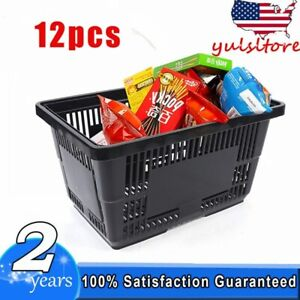 12 Black Plastic Shopping Baskets Retail Store Tote Retail Merchandise W Handle