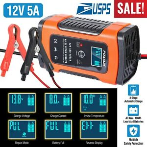 LCD Car ATV 12V 4-100Ah Motorcycle Pulse Repair Battery Charger AGM Automatic