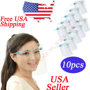 10 Set Face Shield Guard Mask Safety Protection With Glasses Reusable Anti Fog