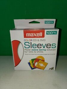 Maxell Cd Dvd Assorted Colors Paper Sleeves 100 Pack