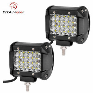 Yitamotor Quad Row 4 Inch 144w Spot Led Work Light Bar Pods Offroad Fog Driving