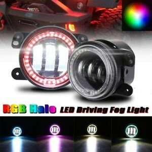 4 Inch Led Angel Eyes Fog Lights Rgb Halo Ring For 2007 2018 Jeep Wrangler Jk