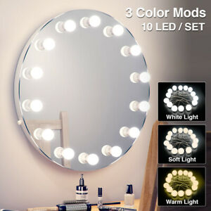 10 Led Makeup Mirror Lights Bulb Kit Vanity Light Dimmable Beauty Lamp Hollywood