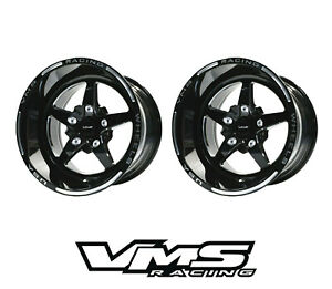 15x10 Vms Racing 5 Spoke V star Black Drag Race Rims Wheels 5x120 Et 25 X2