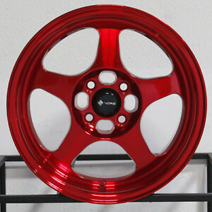 4 new 16 Vors Sp1 Wheels 16x7 4x100 4x114 3 38 Candy Red Rims 73 1