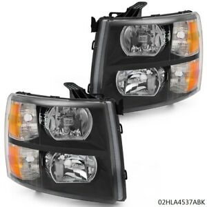 Headlight Lamp Fit 2007 2013 Silverado 1500 2500hd 3500hd Black New