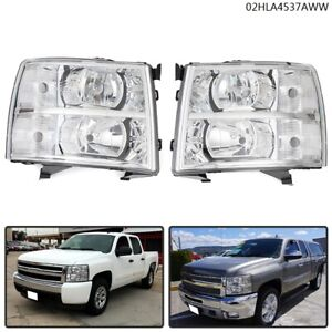 Fit For 07 14 Chevy Silverado Chrome Housing Corner Headlight Replacement Lamp