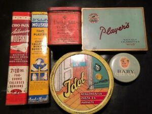 Lot of 6 vintage tin cans