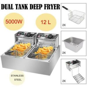 5000w Electric Deep Fryer Dual Tank 12l Home Commercial Restaurant Fry Basket Us