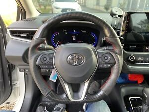 For Toyota Corolla Hatchback 2019 on Carbon Fiber Look Leather Steering Wheel