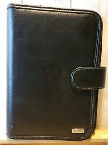 Franklin Covey Day One 7 Ring Planner Black Leather Binder 7 X 10