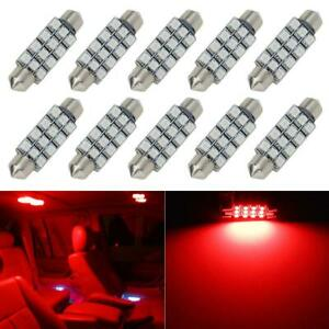 10x Red 12 Smd 42mm Interior Instrument Dome Map Trunk Led Lights Car Bulbs