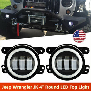 4 Inch Round Led Fog Light Drl Angel Eye Halo Fit 1997 2018 Jeep Grand Cherokee