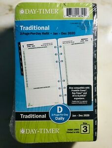 2020 Day timer Traditional Daily 2 page per day Planner Refill Size 3