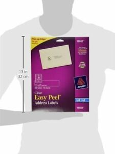 Avery 18661 Easy Peel Address Labels For Inkjet 1 X 4 Clear 200 Labels New