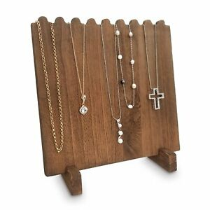 Brown Stained Wooden Necklace Chain Jewelry Display Stand 9 3 8 w X 5 1 2 d X 10