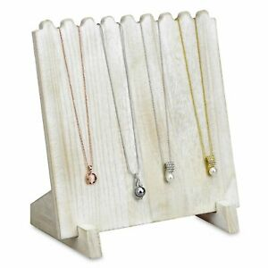 Antiqued White Wooden Necklace Chain Jewelry Display Stand 9 3 8 X 5 1 2 X 10h