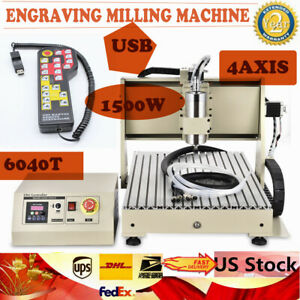 Usb 4 Axis Cnc 6040 Router Engraver Wood Drilling mill Machine 1 5kw Controller