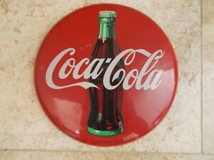 Coca Cola Vintage Metal Advertising Coke Bottle Button Sign 19