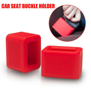 Car Seat Belt Buckle Buckle Soft Silicone Car Seat Belt Buckle Retainer Red