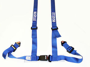 Sparco Racing Street 4 Point Bolt in 2 Seat Belt Harness blue