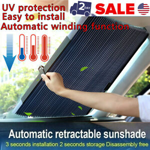New Auto Shade Car Retractable Curtain Uv Protection Front Windshield Sun Visor