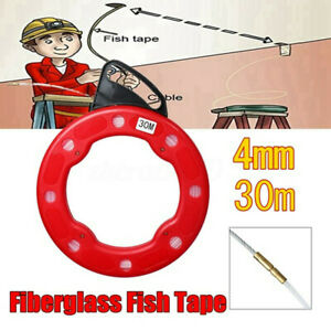 100ft Fish Tape Reel Wire Pulling Tools 30m Fiberglass Cable Puller Working Tool