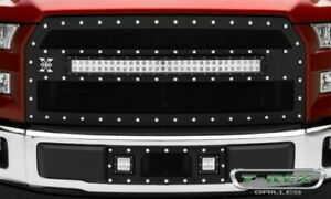 T rex 6315731 Torch Series Black Main Grille W led Light Bar 2015 17 Ford F 150