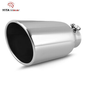 Yitamotor Stainless Bolt on Exhaust Tip Tail Pipe 3 Inlet 5 Outlet 12 Long