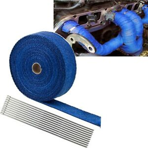 2 50ft Roll Fiberglass Exhaust Header Pipe Heat Wrap Tape Blue W 10 Steel Ties
