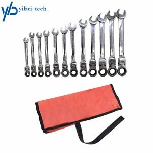 12pc Metric Flexible Head Ratcheting Wrench Combination Spanner Tool Set 8 19mm