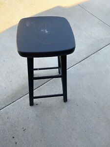 Vintage Painted Black Solid Wood Stool Chair Grooved Legs Rungs No Ship