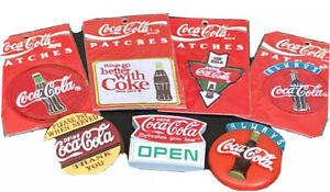 Coca-Cola Lot-3 Large Plastic Magnets & 4 Iron On Patches Still In Package!🎈🎈